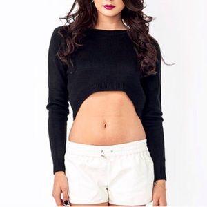 Nollie   Women's Cropped Sheer Black Sweater SZ XS